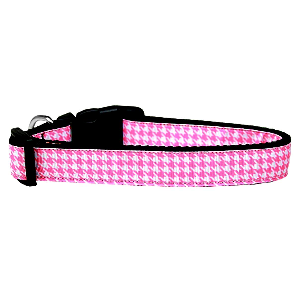 Houndstooth Nylon Dog Collar - Pink