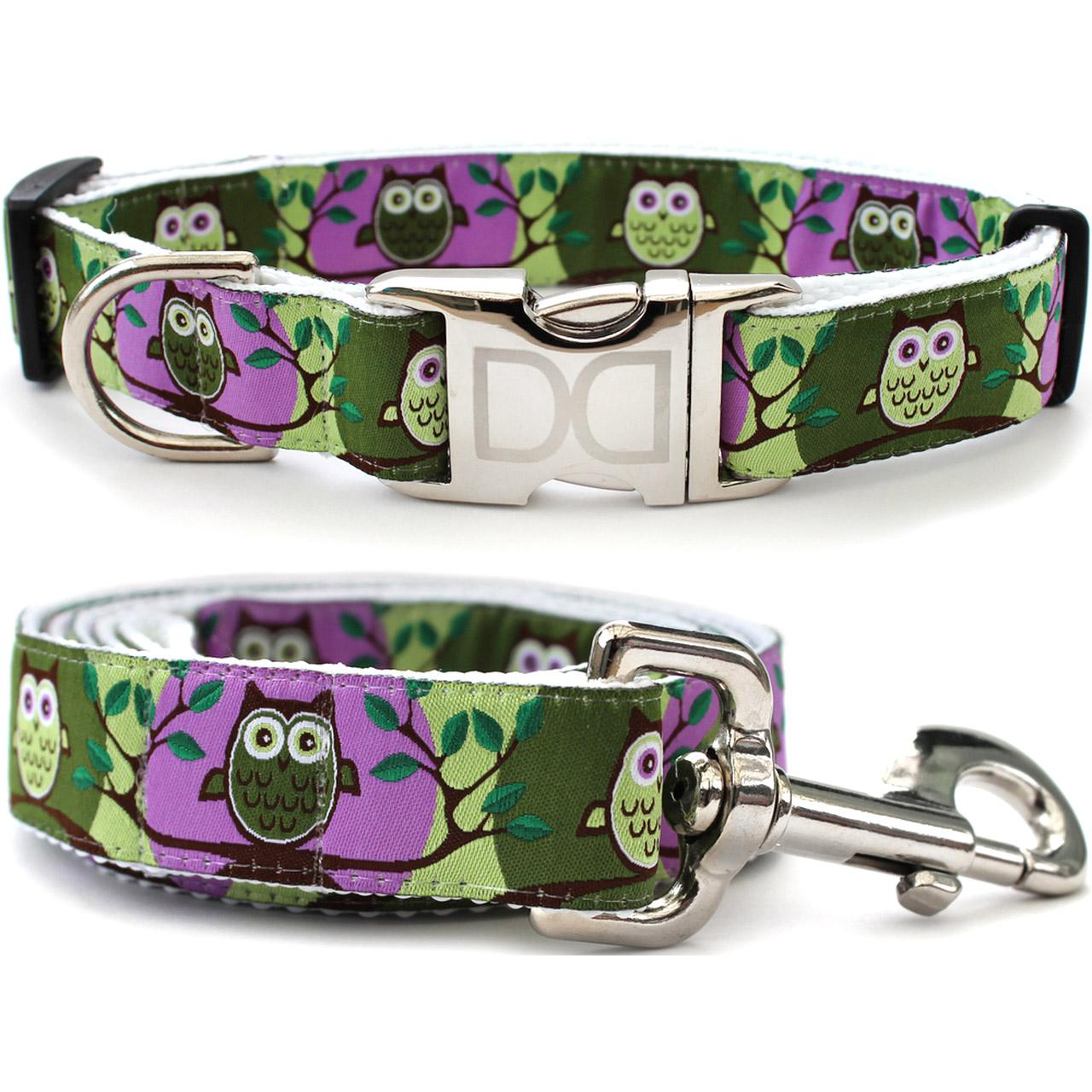H'Owl Grape and Avocado Dog Collar and Leash Set by Diva Dog