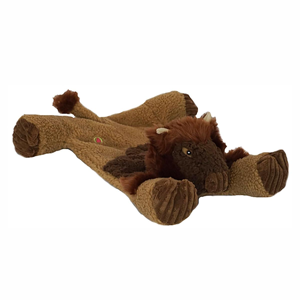 HuggleHounds Flatties Dog Toy - Bison