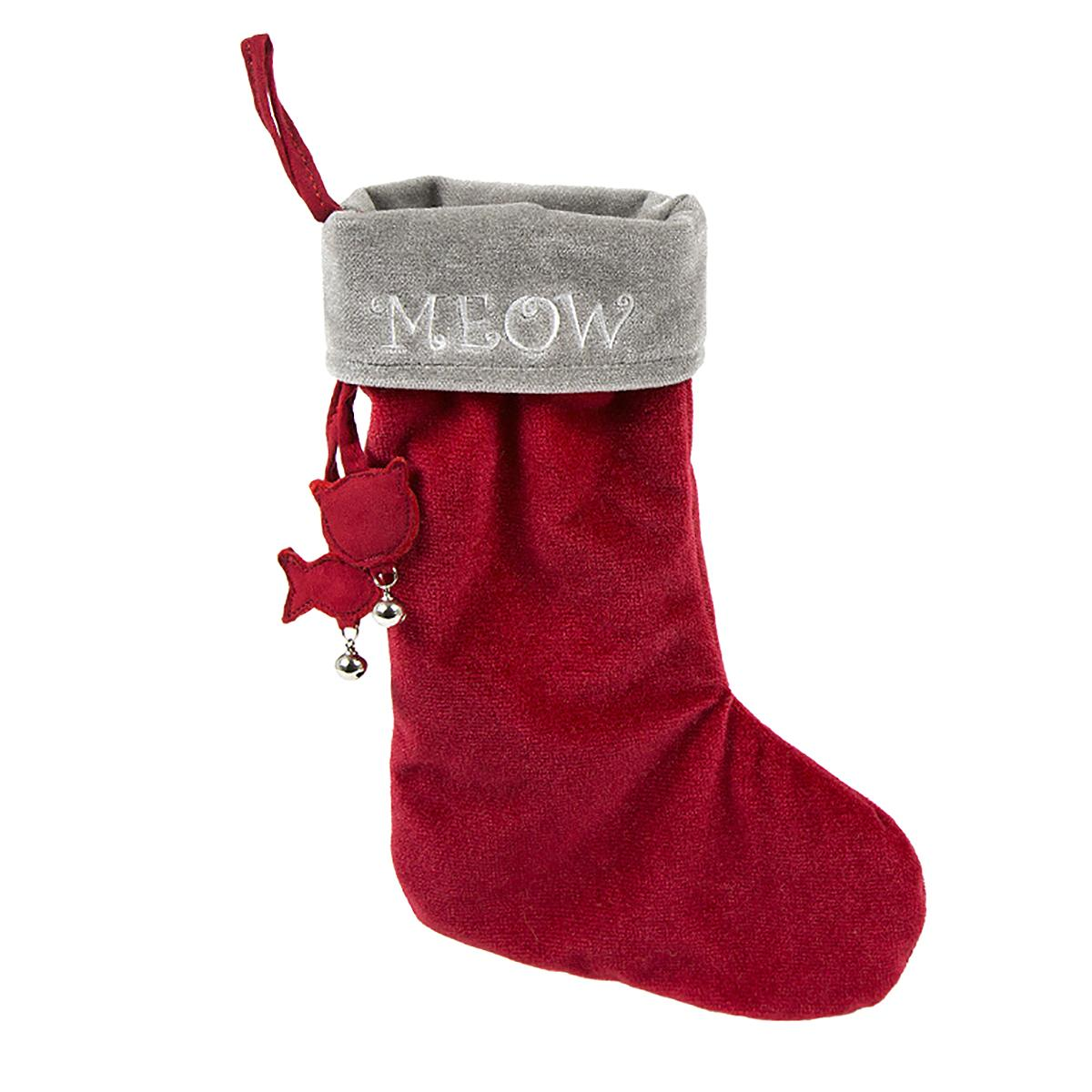 HuggleHounds Holiday Cat Stocking - Meow on Gray Cuff