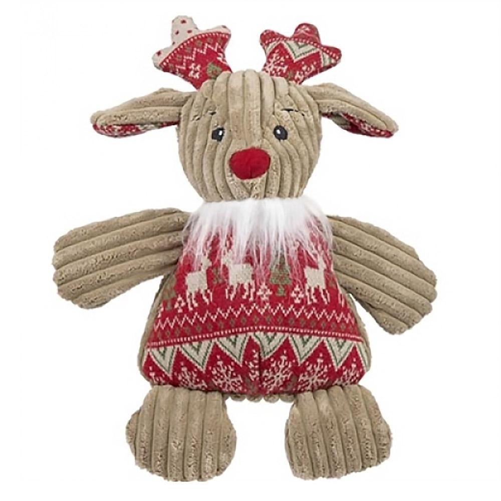 HuggleHounds Holiday Chubbie Buddie Plush Dog Toy - Reindeer with Sweater