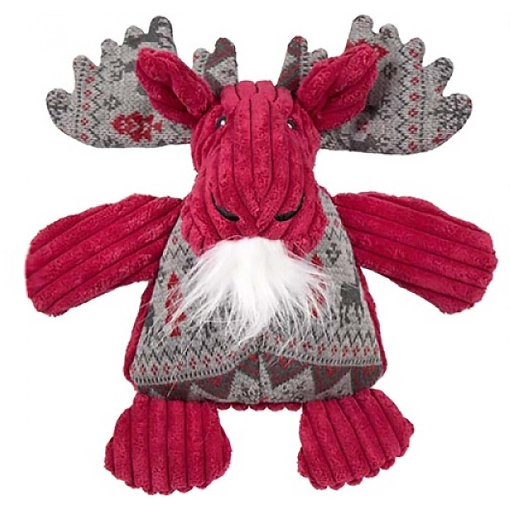 HuggleHounds Holiday Chubbie Buddie Plush Dog Toy - Moose with Sweater
