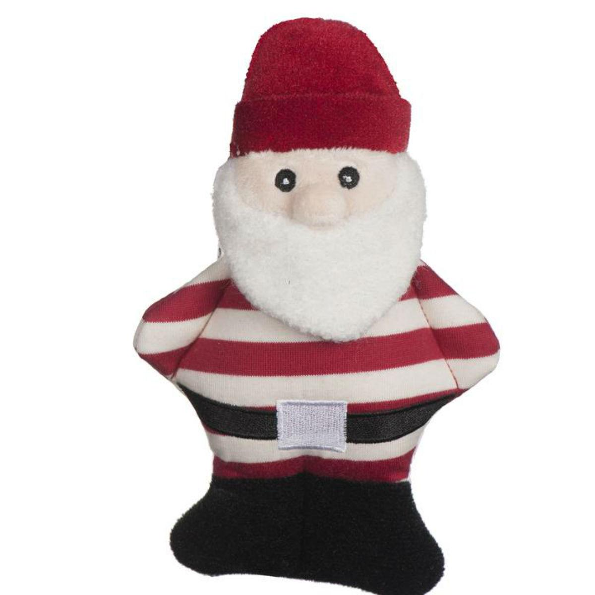 HuggleHounds Holiday Cookie Collection Dog Toy - Striped Santa