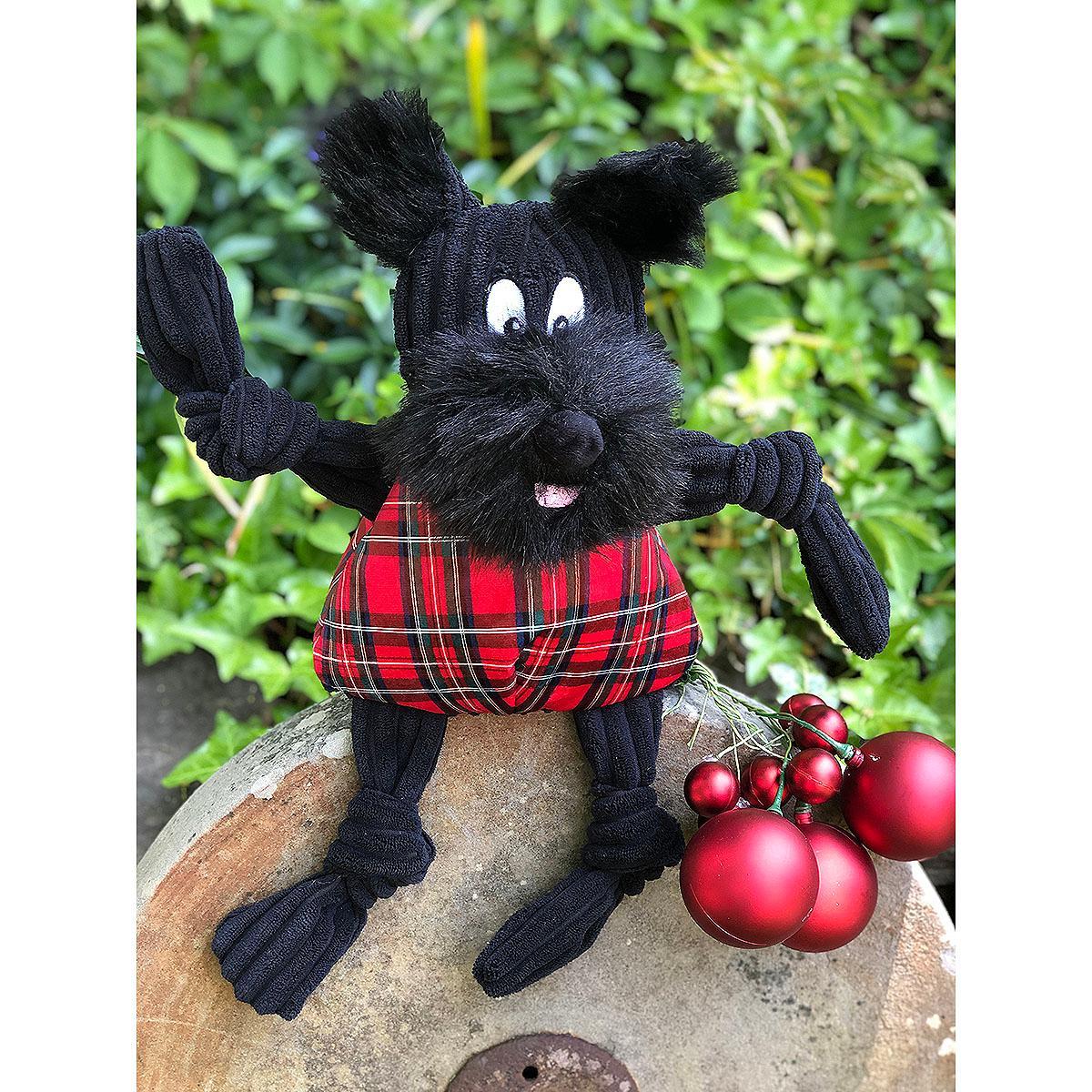 HuggleHounds Holiday Totally Tartan Knottie Dog Toy - Whiskey the Scottie