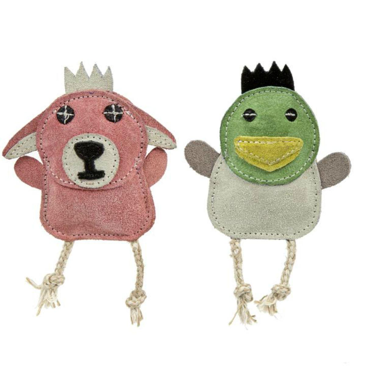 HuggleHounds Naturals Wee Buddie Dog Toy - Duck and Bunny