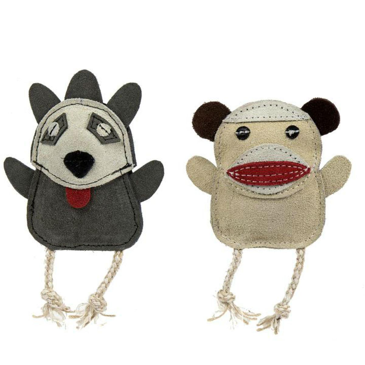 HuggleHounds Naturals Wee Buddie Dog Toy - Monkey and Raccoon