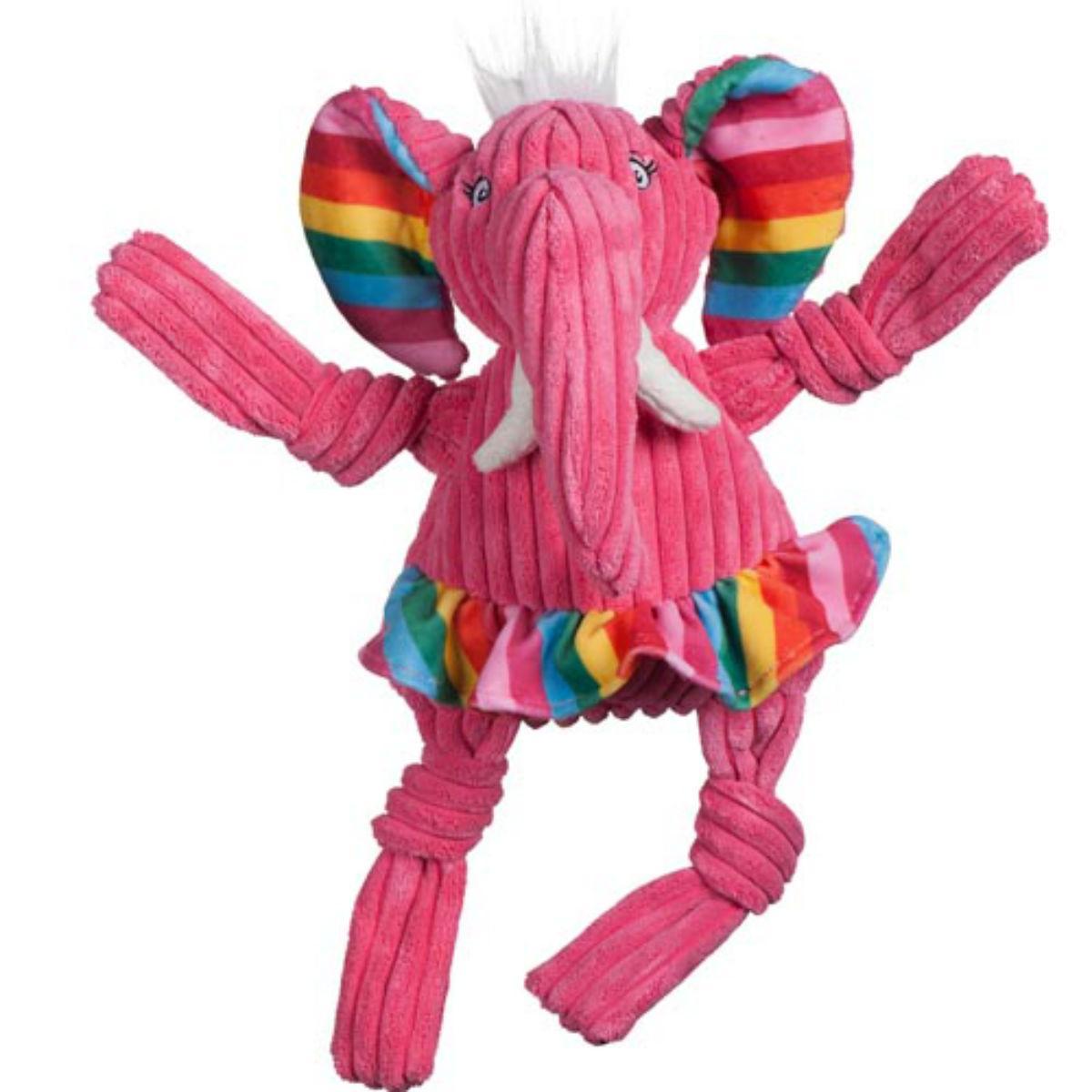 HuggleHounds Rainbow Knottie Dog Toy - Elephant
