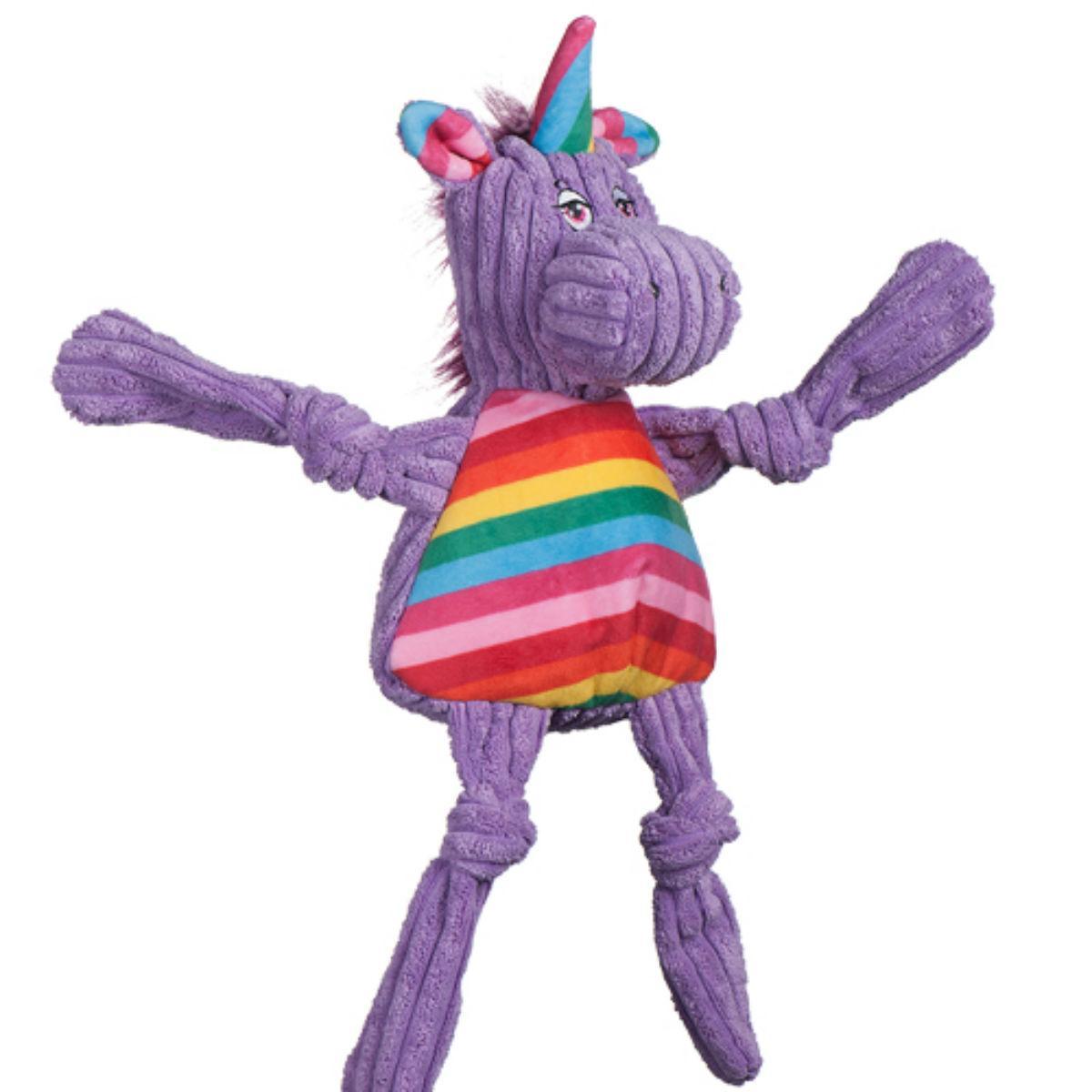 HuggleHounds Rainbow Knottie Dog Toy - Unicorn