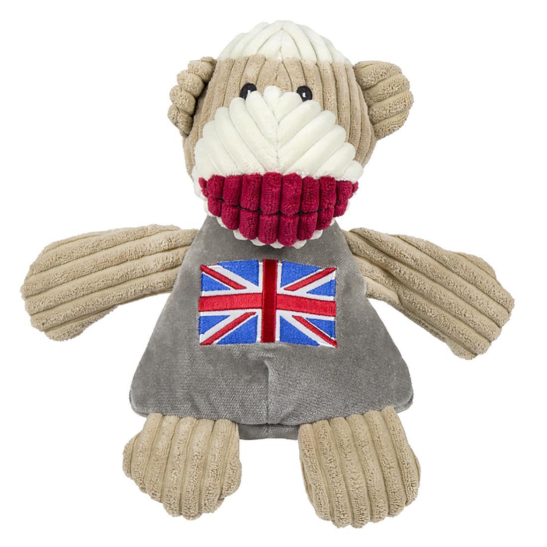 HuggleHounds Sock Monkey Chubbie Buddie Plush Dog Toy - Union Jack