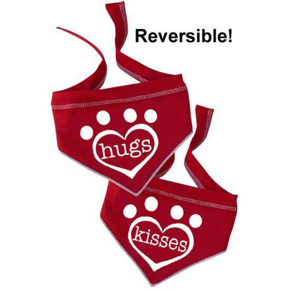Hugs/Kisses Reversible Dog Scarf - Red