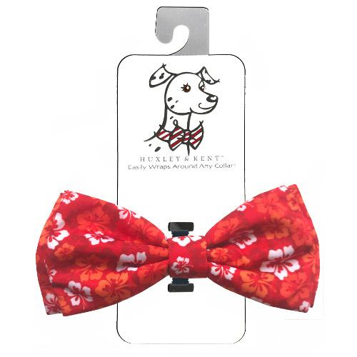 Huxley & Kent Dog and Cat Bow Tie Collar Attachment - Red Hibiscus