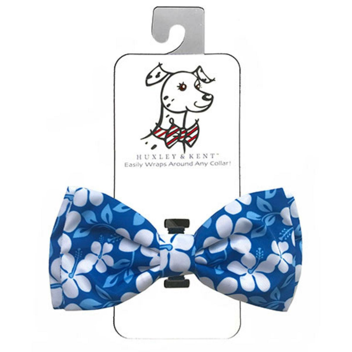 Huxley & Kent Dog and Cat Bow Tie Collar Attachment - Blue Hibiscus