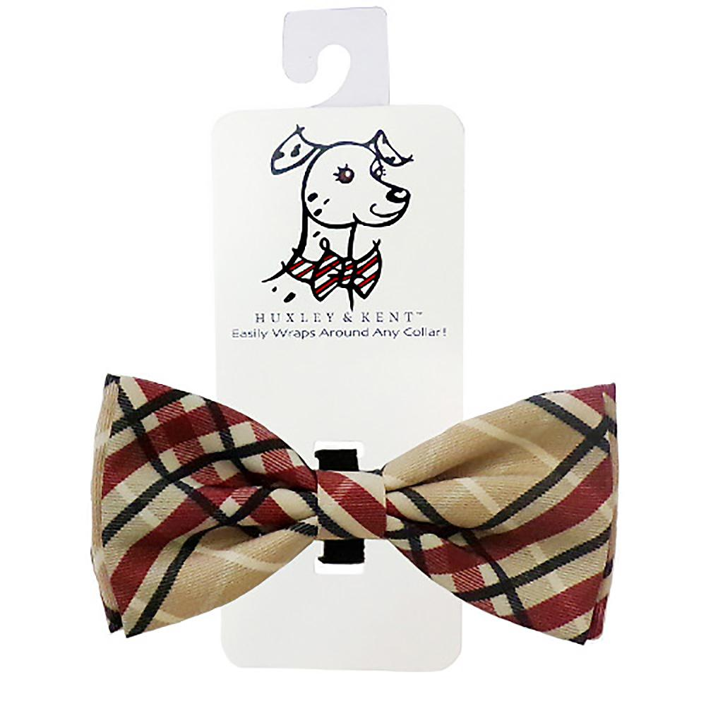 Huxley & Kent Dog and Cat Bow Tie Collar Attachment - Tan Plaid