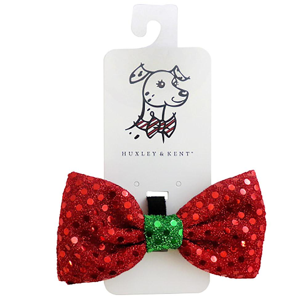 Huxley & Kent Holiday Dog and Cat Bow Tie - Red Disco Dot