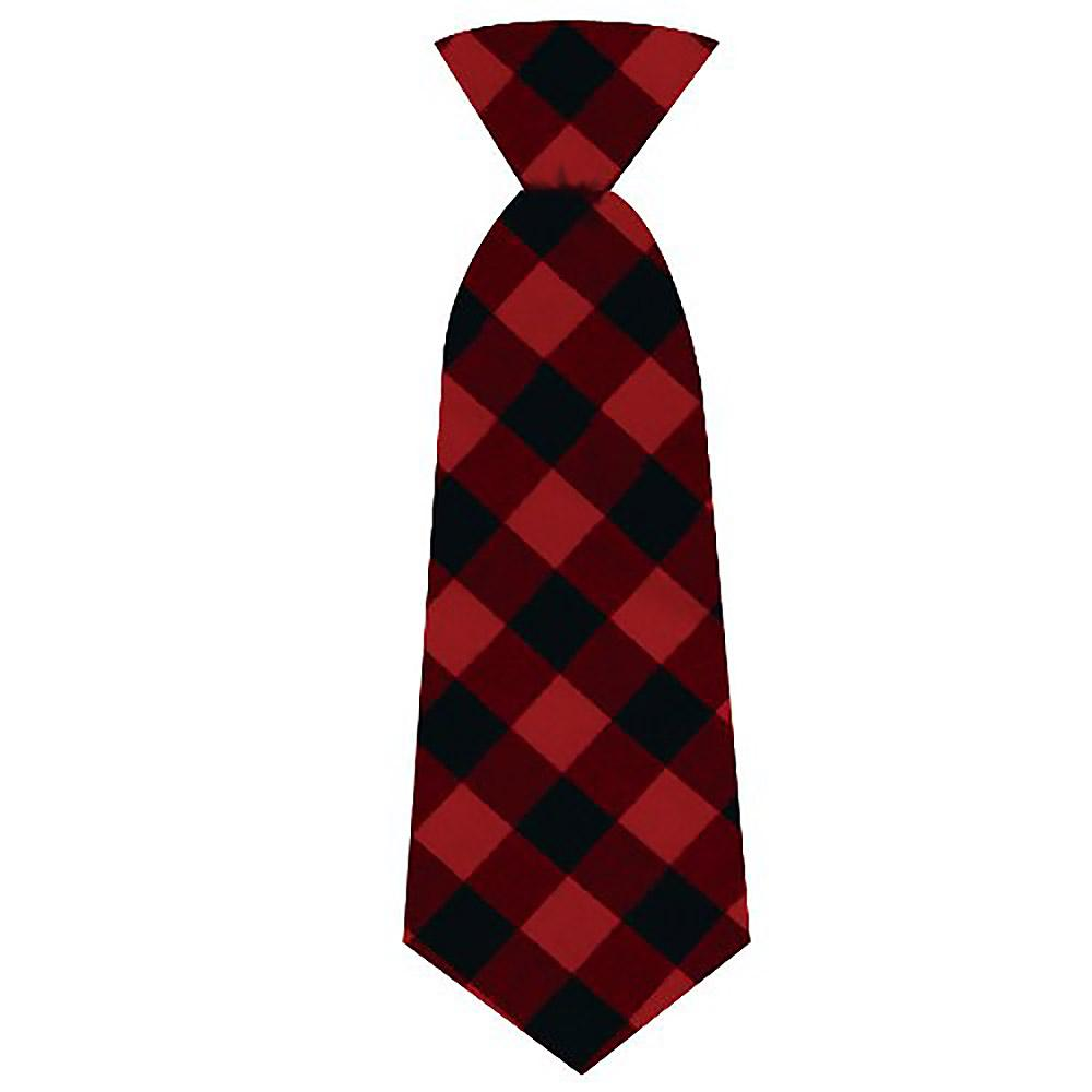 Huxley & Kent Holiday Long Tie Collar Attachment Dog Necktie - Buffalo Check