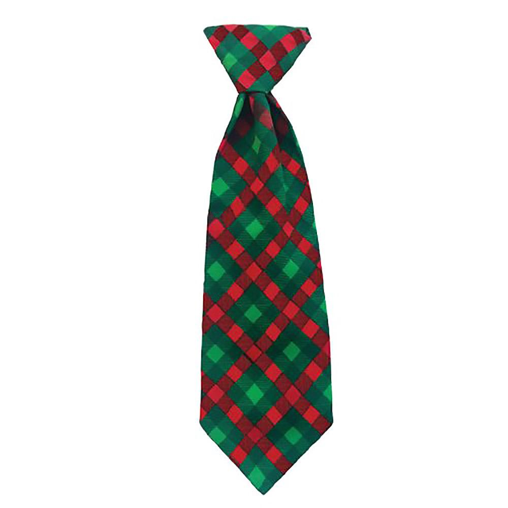 Huxley & Kent Holiday Long Tie Collar Attachment Dog Necktie - Scottish Check
