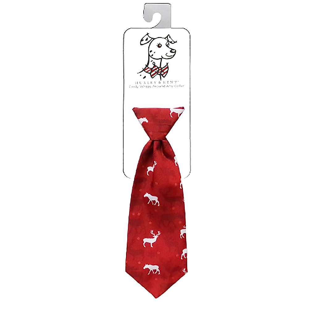 Huxley & Kent Holiday Long Tie Collar Attachment Dog Necktie - Moose