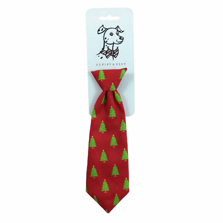 Huxley & Kent Long Dog Collar Attachment Necktie - Christmas Trees