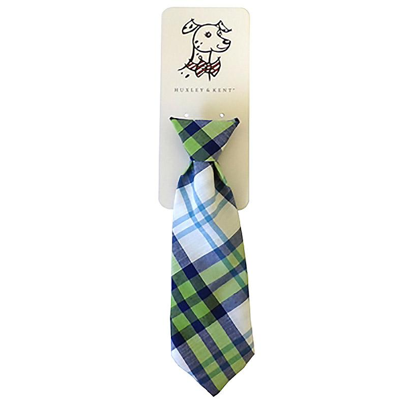 Huxley & Kent Long Tie Collar Attachment Dog Necktie - Lime Madras