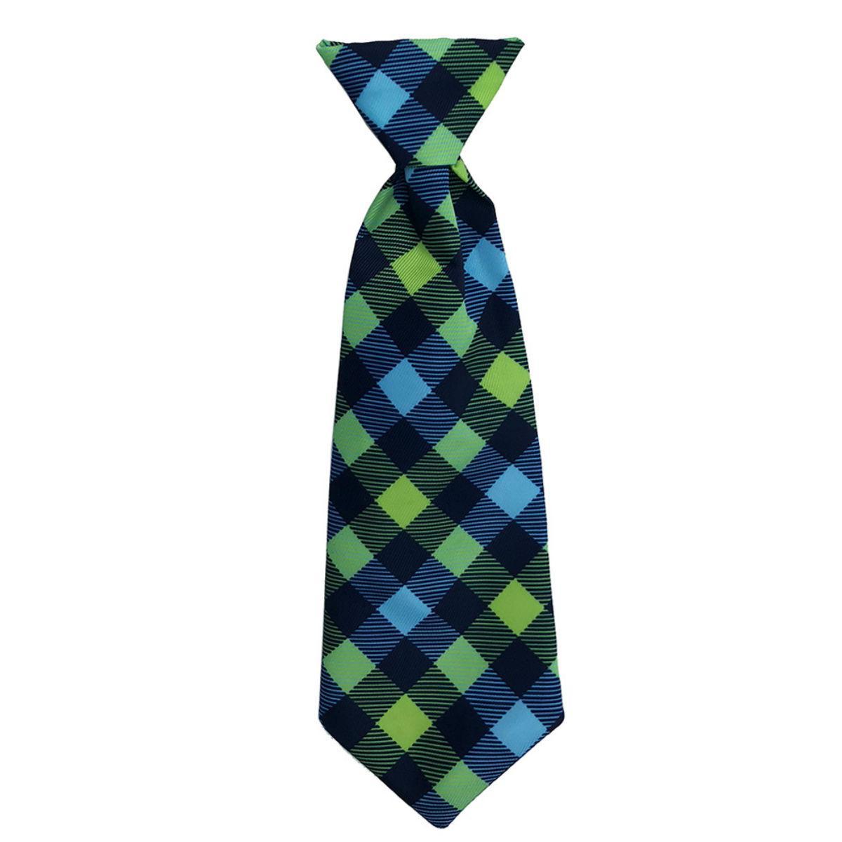 Huxley & Kent Long Tie Collar Attachment Dog Necktie - Navy Check