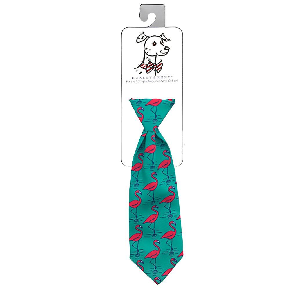 Huxley & Kent Long Tie Collar Attachment Dog Necktie - Flamingo