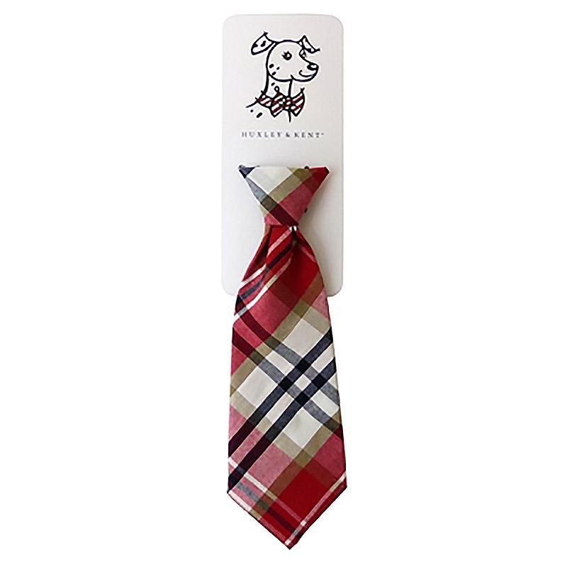 Huxley & Kent Long Tie Collar Attachment Dog Necktie - Red Madras