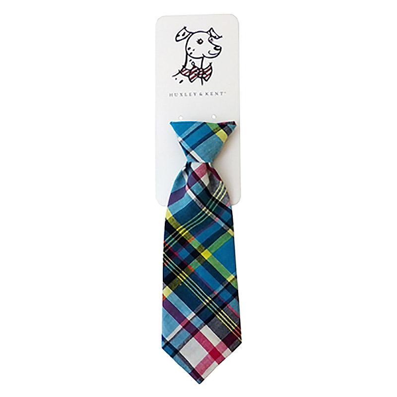 Huxley & Kent Long Tie Collar Attachment Dog Necktie - Blue Madras