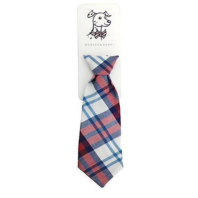 Huxley & Kent Long Tie Collar Attachment Dog Necktie - Americana Madras