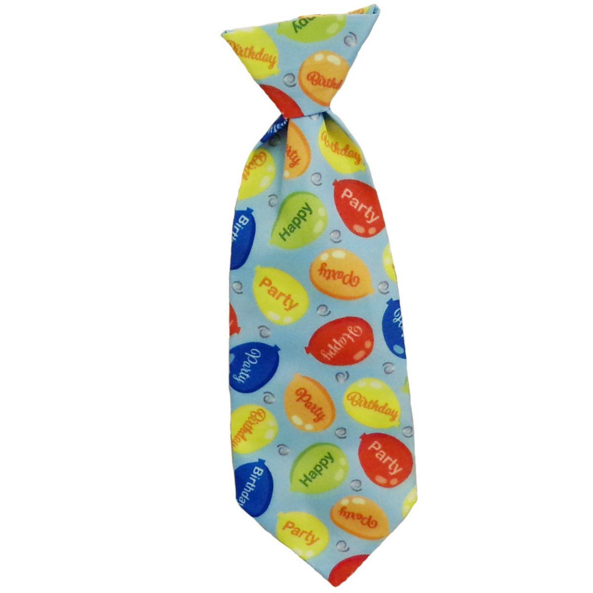 Huxley & Kent Party Time Long Tie Collar Attachment Dog Necktie - Blue