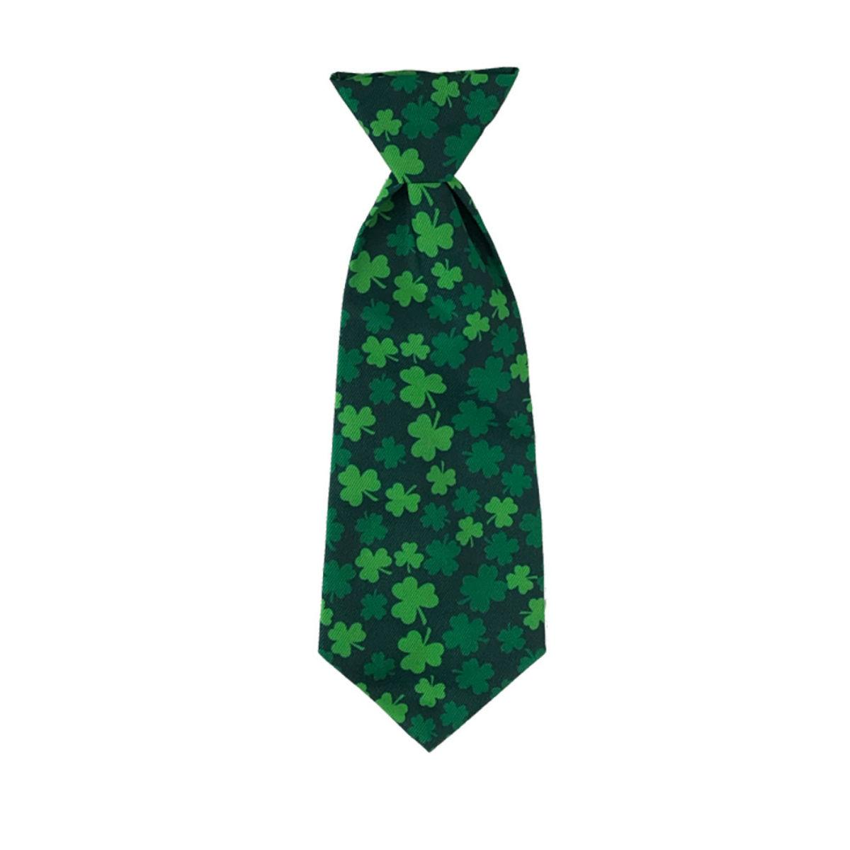 Huxley & Kent Long Tie Collar Attachment Dog Necktie - Lucky Shamrock
