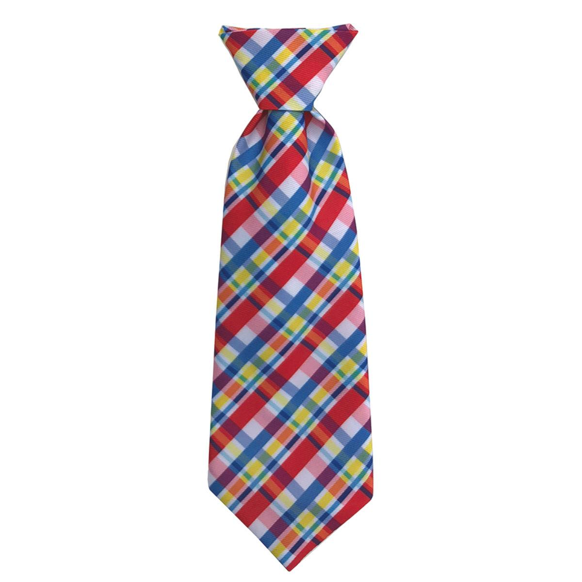 Huxley & Kent Long Tie Collar Attachment Dog Necktie - Preppy Plaid