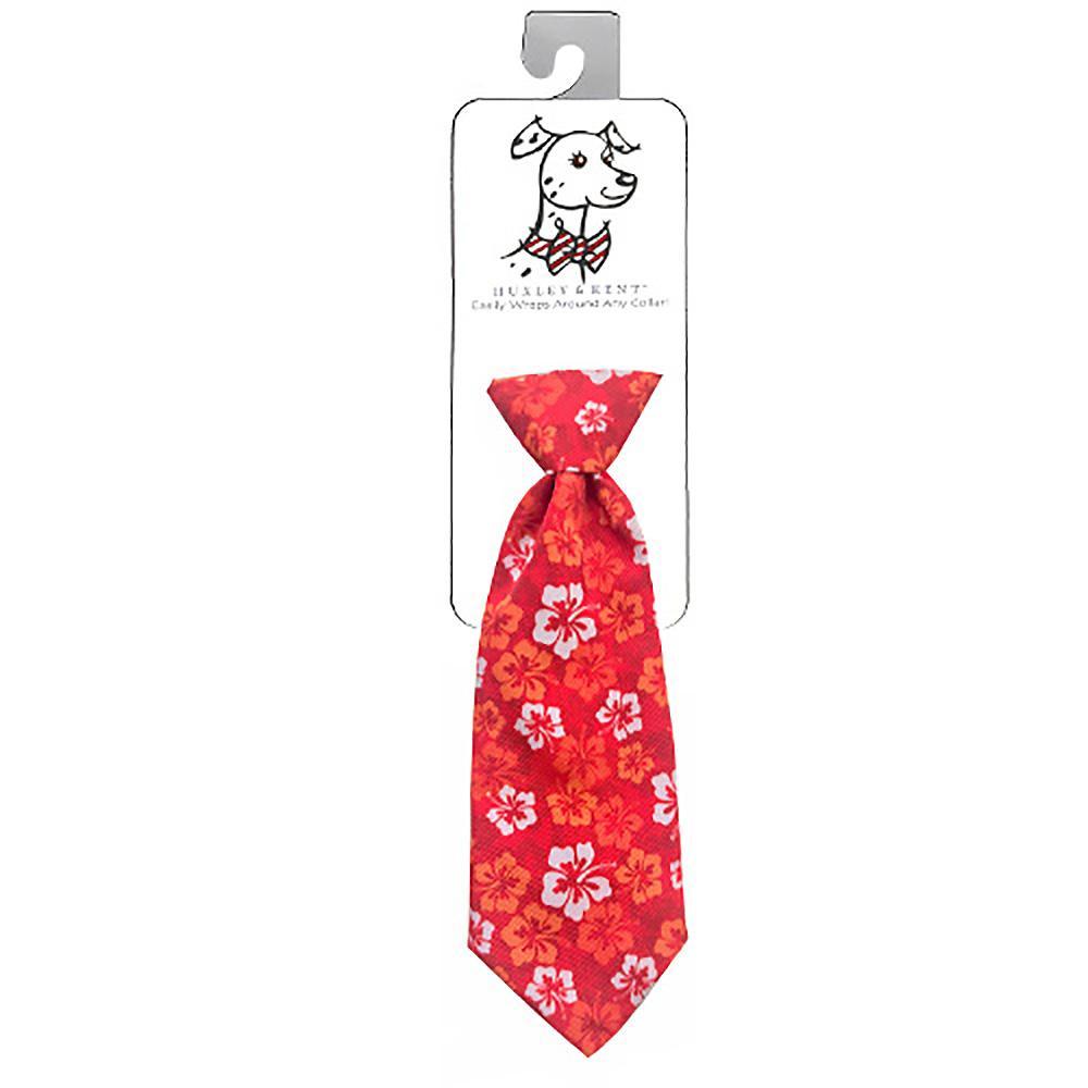 Huxley & Kent Long Tie Collar Attachment Dog Necktie - Red Hibiscus