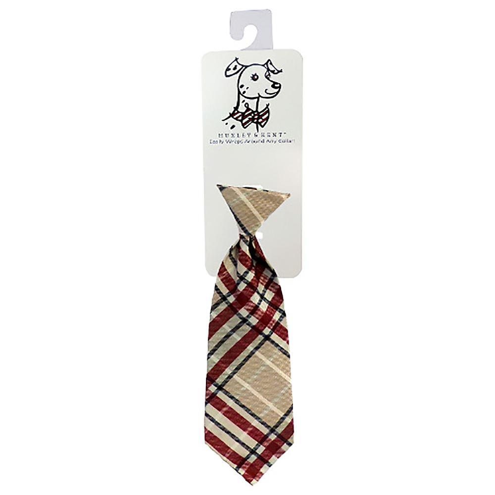 Huxley & Kent Long Tie Collar Attachment Dog Necktie - Tan Plaid