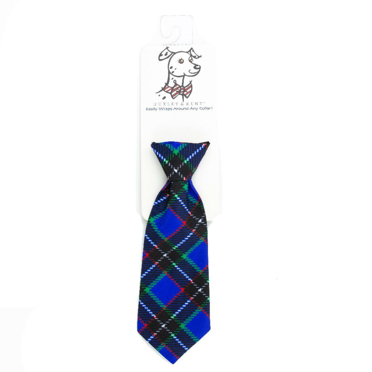 Huxley & Kent Long Tie Collar Attachment Dog Necktie - Blueberry Plaid