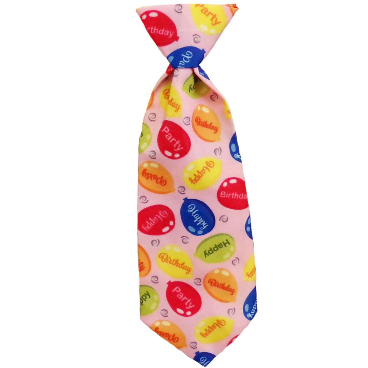 Huxley & Kent Party Time Long Tie Collar Attachment Dog Necktie - Pink