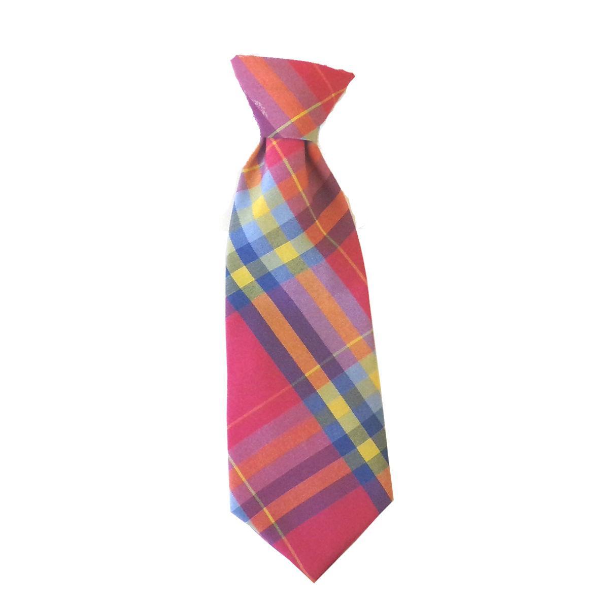 Huxley & Kent Long Tie Collar Attachment Dog Necktie - Pink Madras