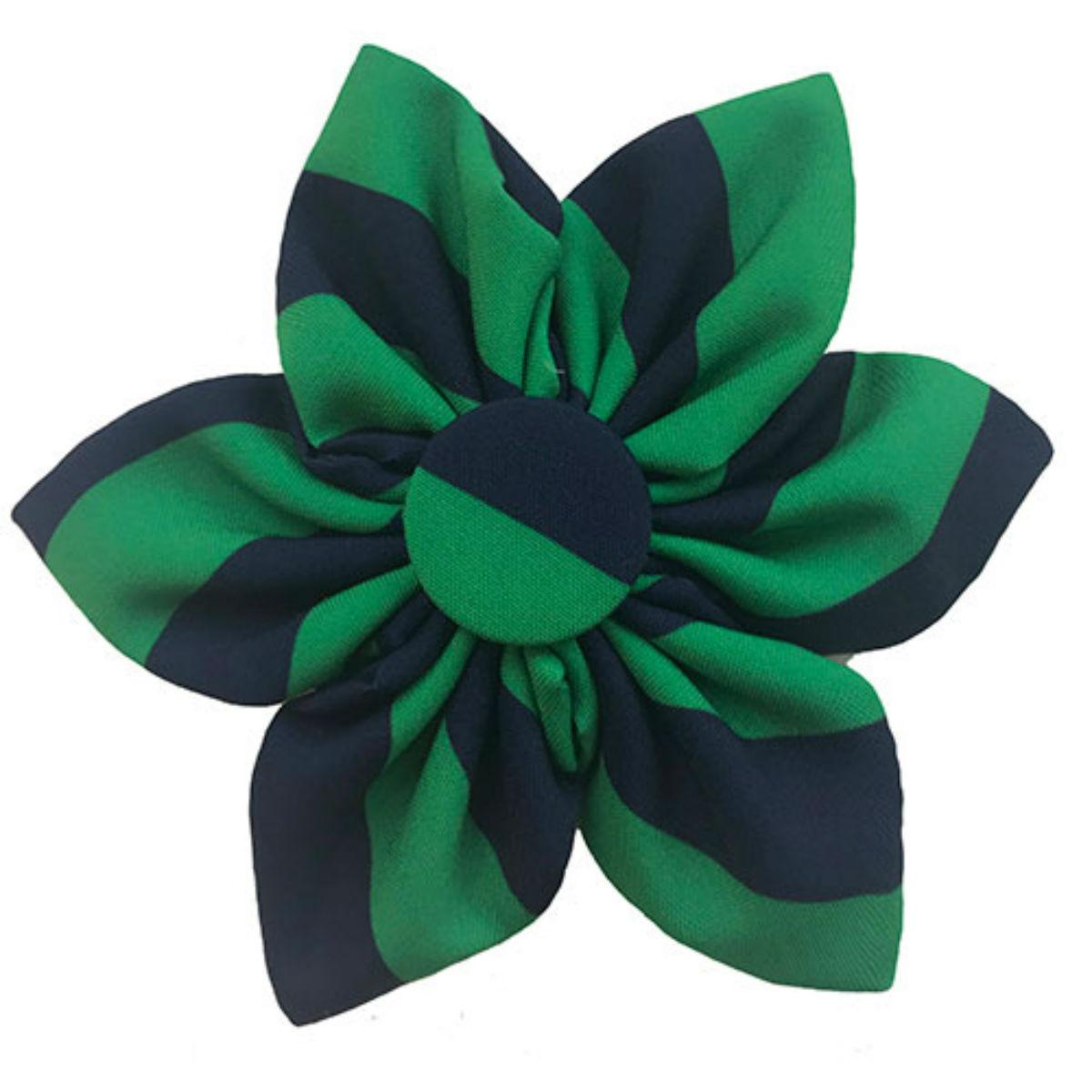 Huxley & Kent Pinwheel Dog and Cat Collar Attachment - Harvey Blue and Green Striped