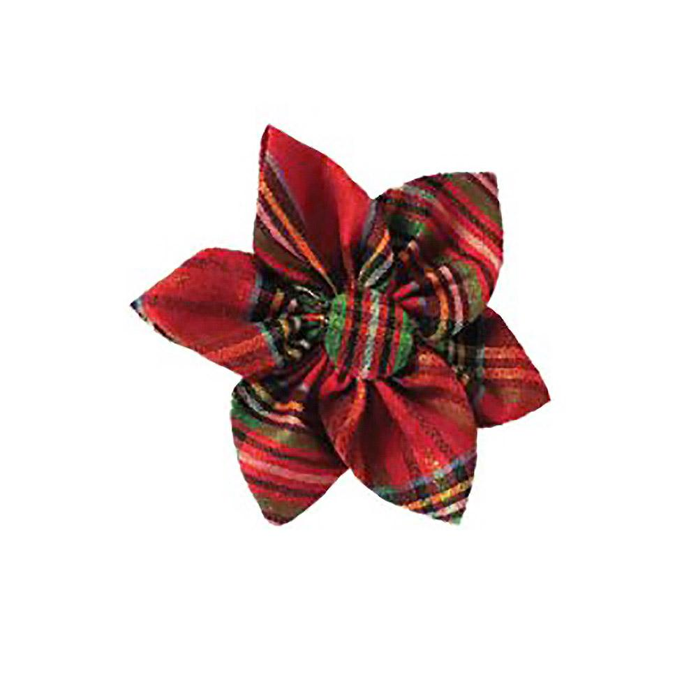 Huxley & Kent Pinwheel Holiday Dog and Cat Collar Attachment - Red Plaid