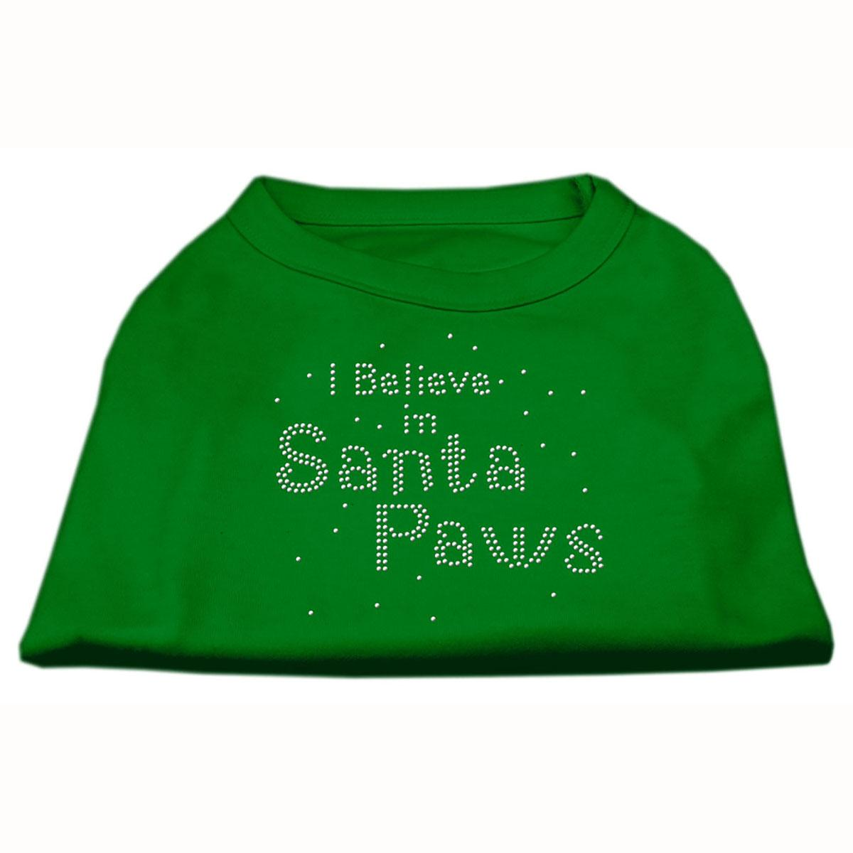 I Believe in Santa Paws Screen Print Dog Shirt - Green