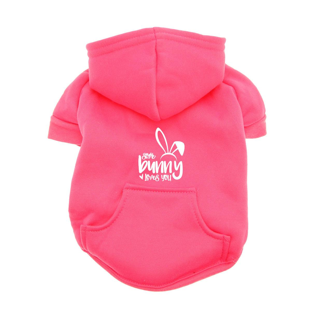 Some Bunny Loves You Dog Hoodie - Pink