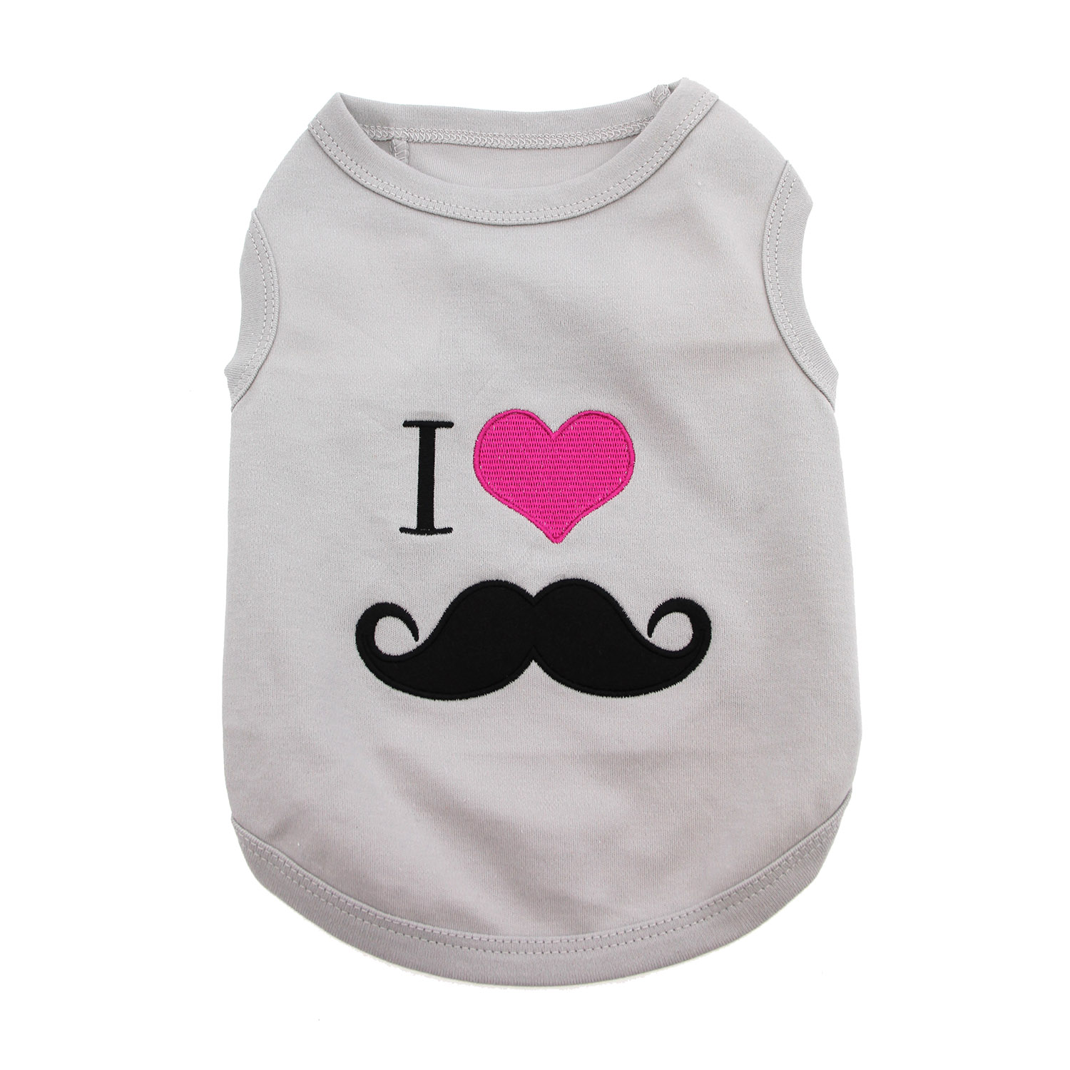 I Heart Mustache Dog Tank - Gray