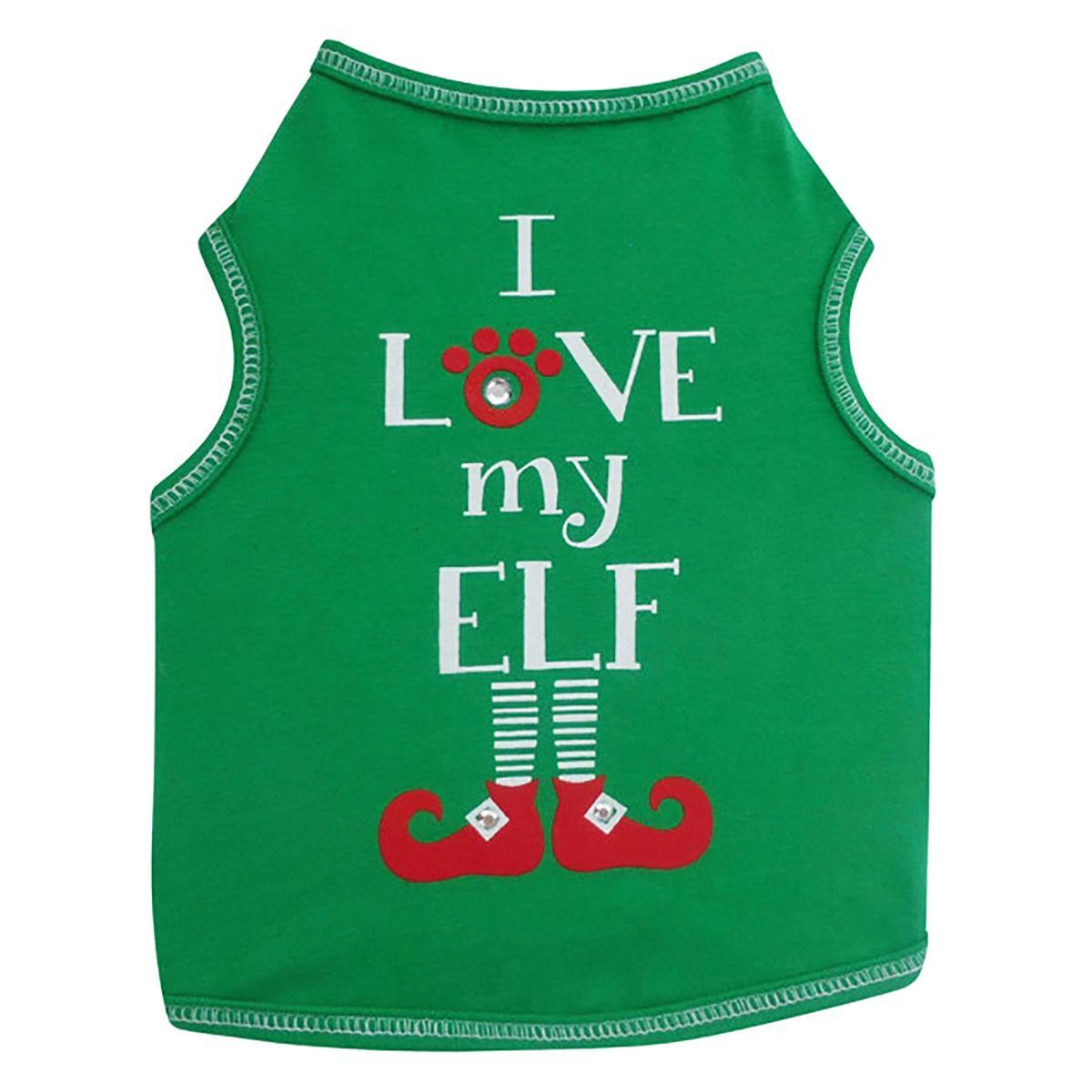 I Love My Elf Dog Tank Top - Green