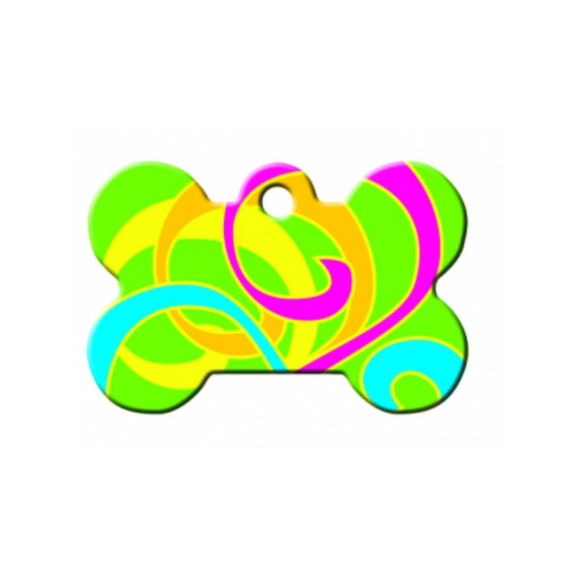 Neon Color Swirls Bone Large Engravable Pet I.D. Tag