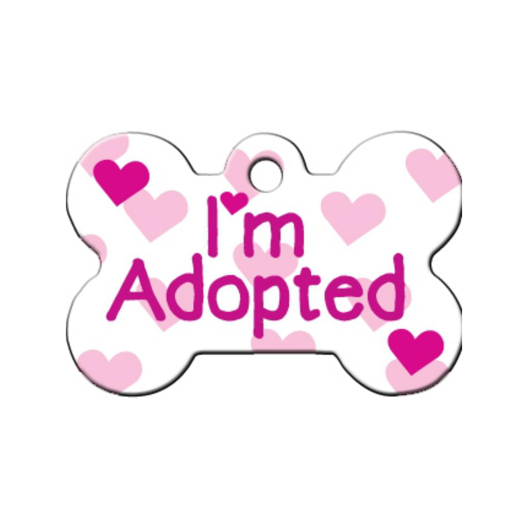 I'm Adopted Bone Large Engravable Pet I.D. Tag - Pink/White