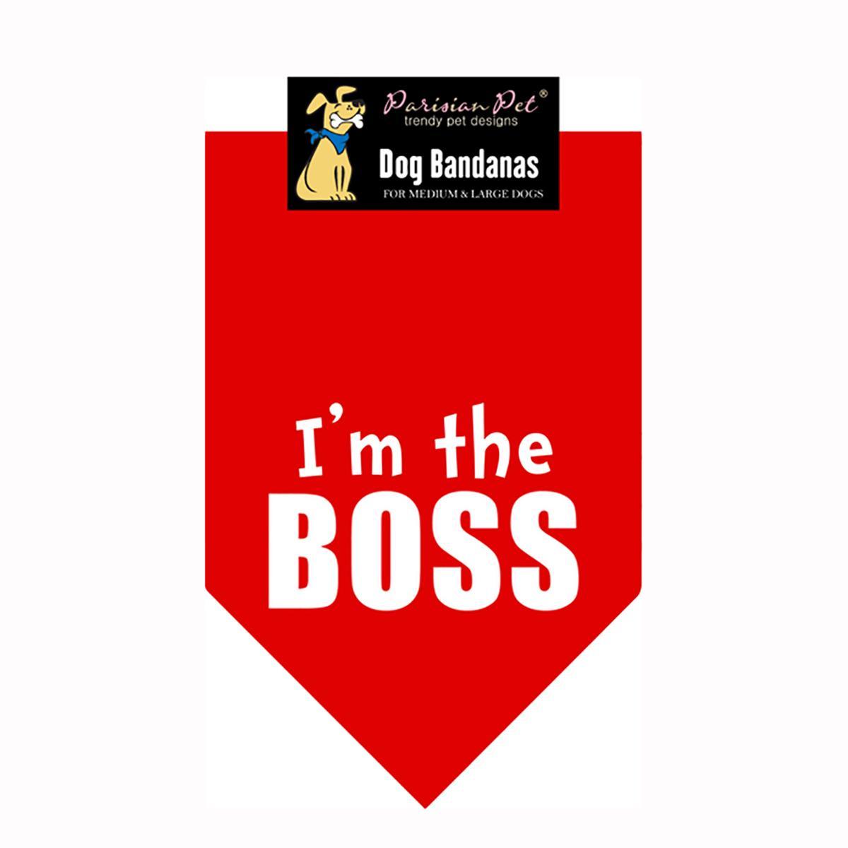 I'm the Boss Dog Bandana - Red