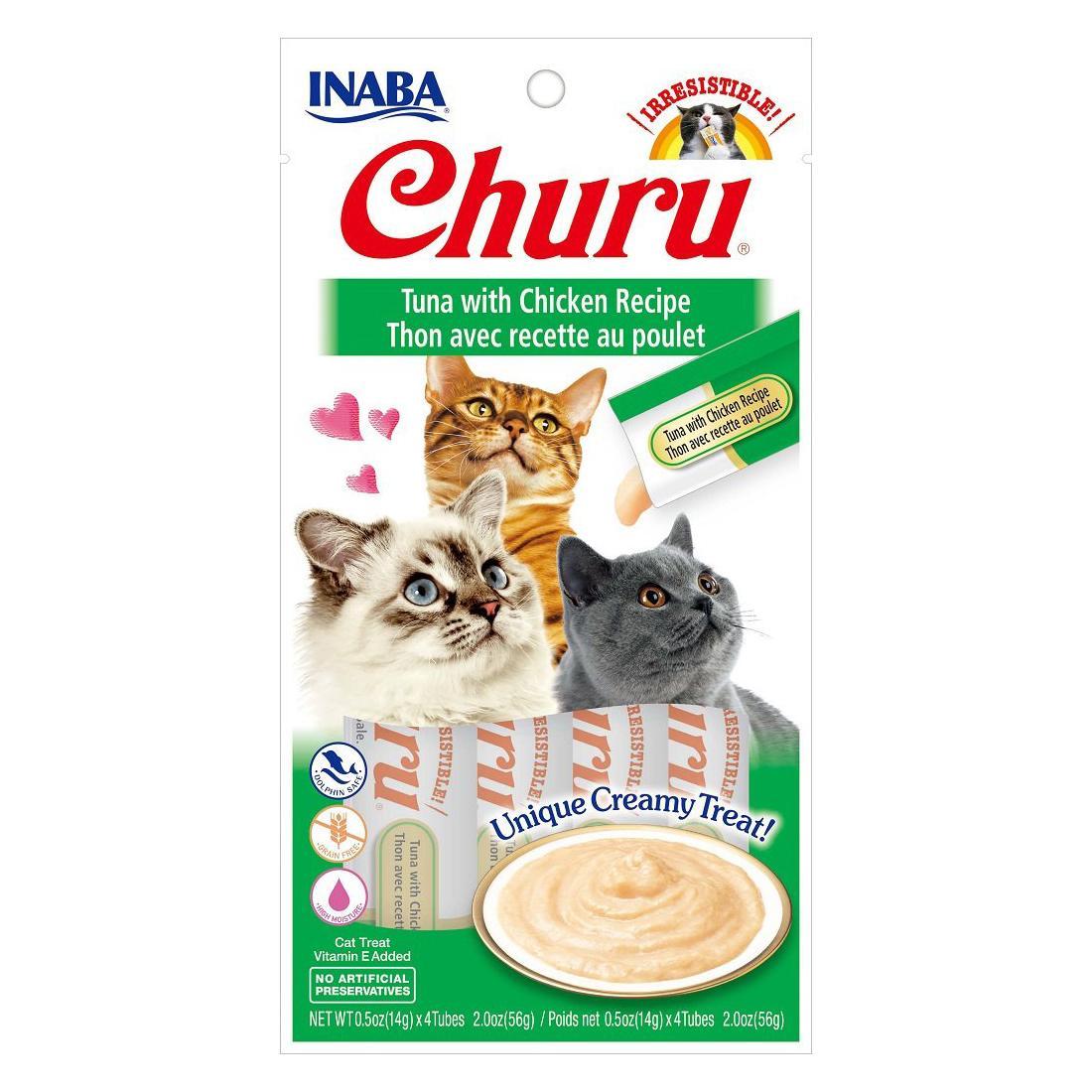 Inaba Churu Puree Grain-Free Cat Treats - Tuna & Chicken