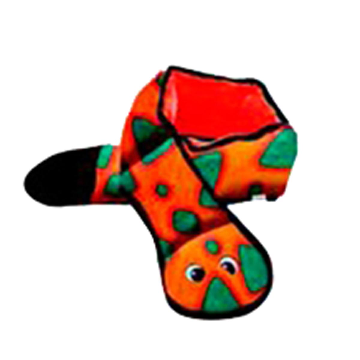 Invincibles Snake Squeaker Dog Toy - Orange/Blue