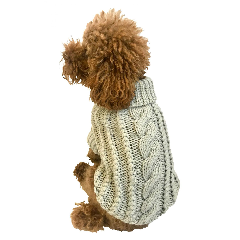 Irish Isle Hand-knit Mock Turtleneck Dog Sweater - Silver