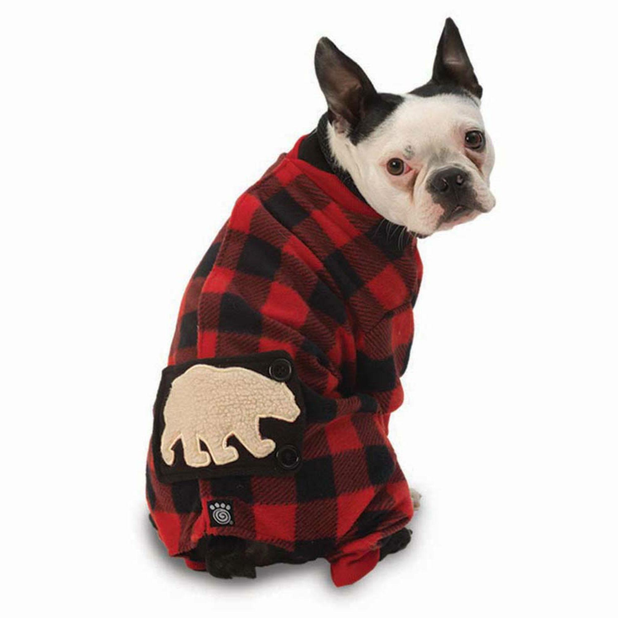 Jackson Polar Bear Dog Pajamas - Red/Black