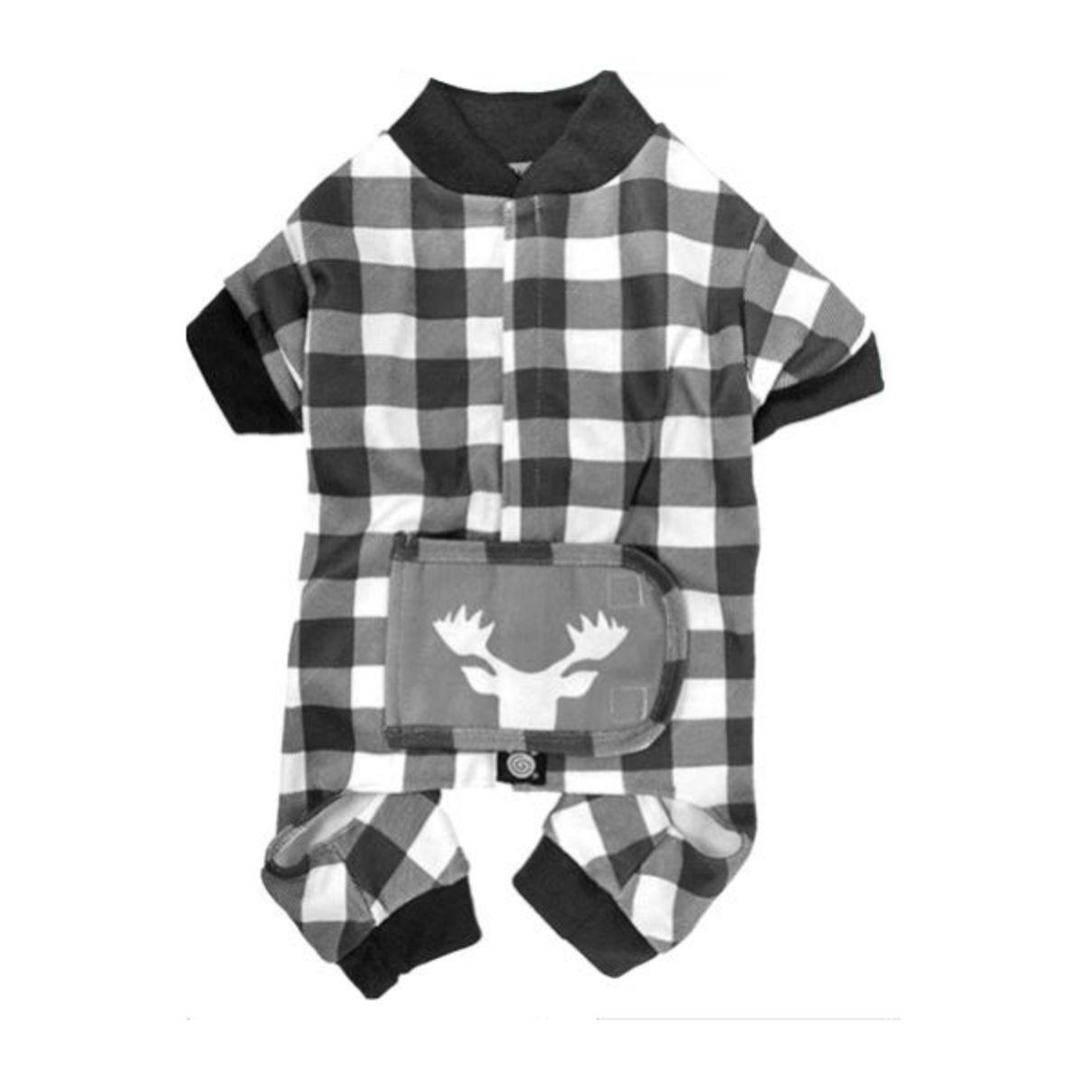 Jackson Moose Head Dog Pajamas - Cream/Gray Checkered